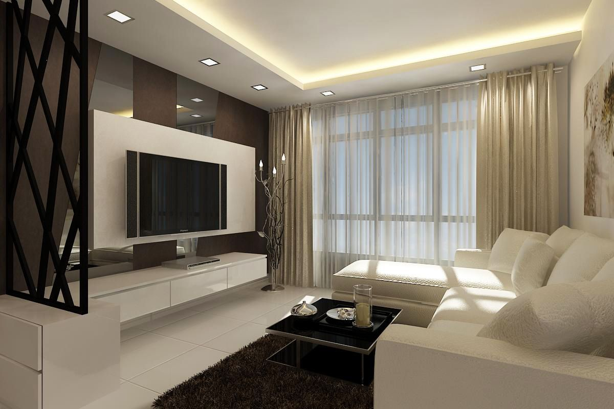 Singapore Interior Design Futuristic For Living Room With White Sectional Sofa Black Rug Carpet
