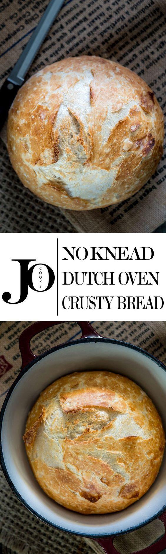 No Knead Dutch Oven Crusty Bread - no kneading required, 4 ...