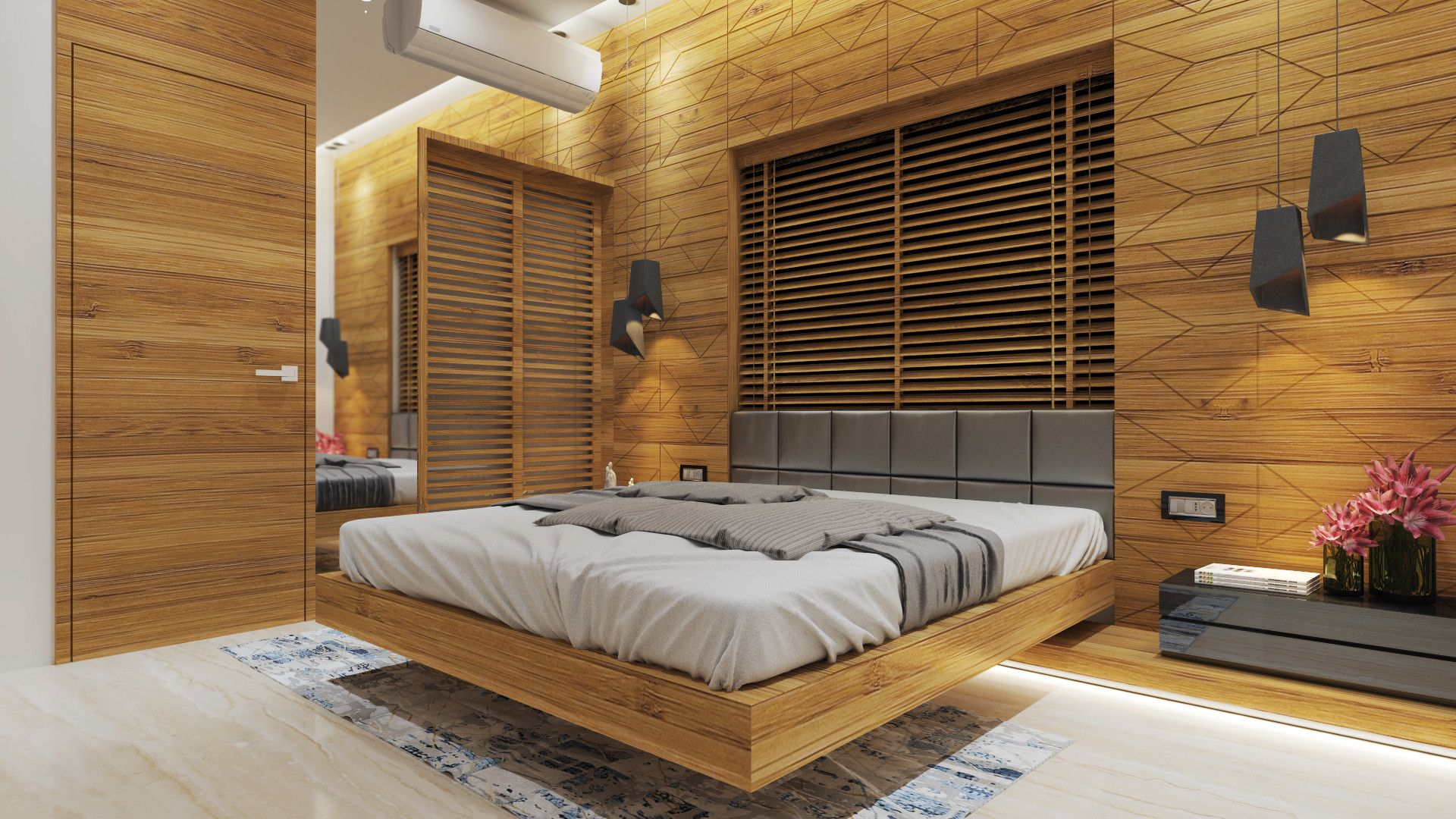 wall hung bed with upholstered back rest and wooden paneling
