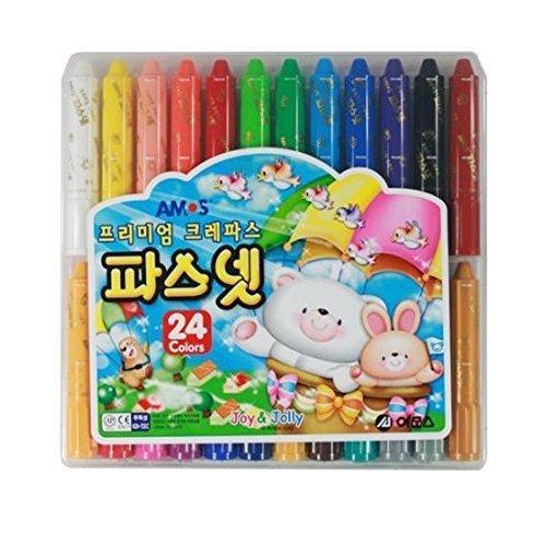 Amos Premium Non-toxic Silky Crayon Pasnet 24 Colors by AMOS