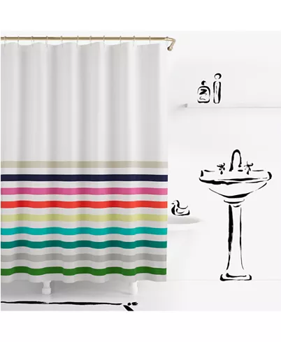 Kate Spade New York Candy Stripe Cotton 72 X 72 Shower Curtain
