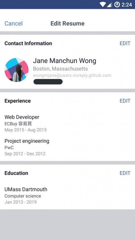 Facebook tests LinkedIn-like resumes so you can flaunt work - resume with work experience