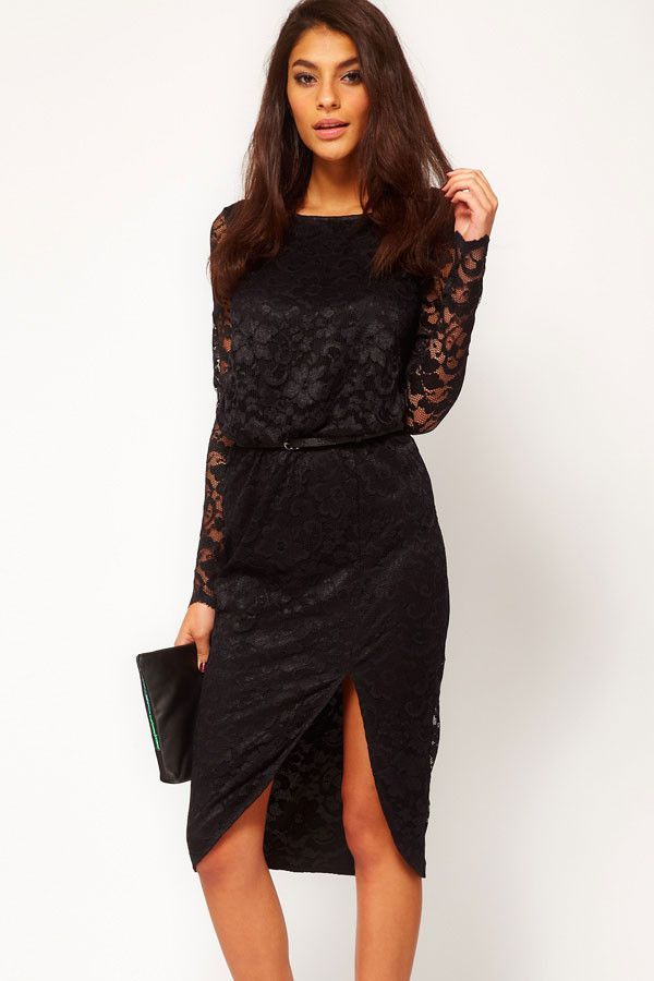 Black Sexy Midi Dress in Lace with Cowl Back and Split