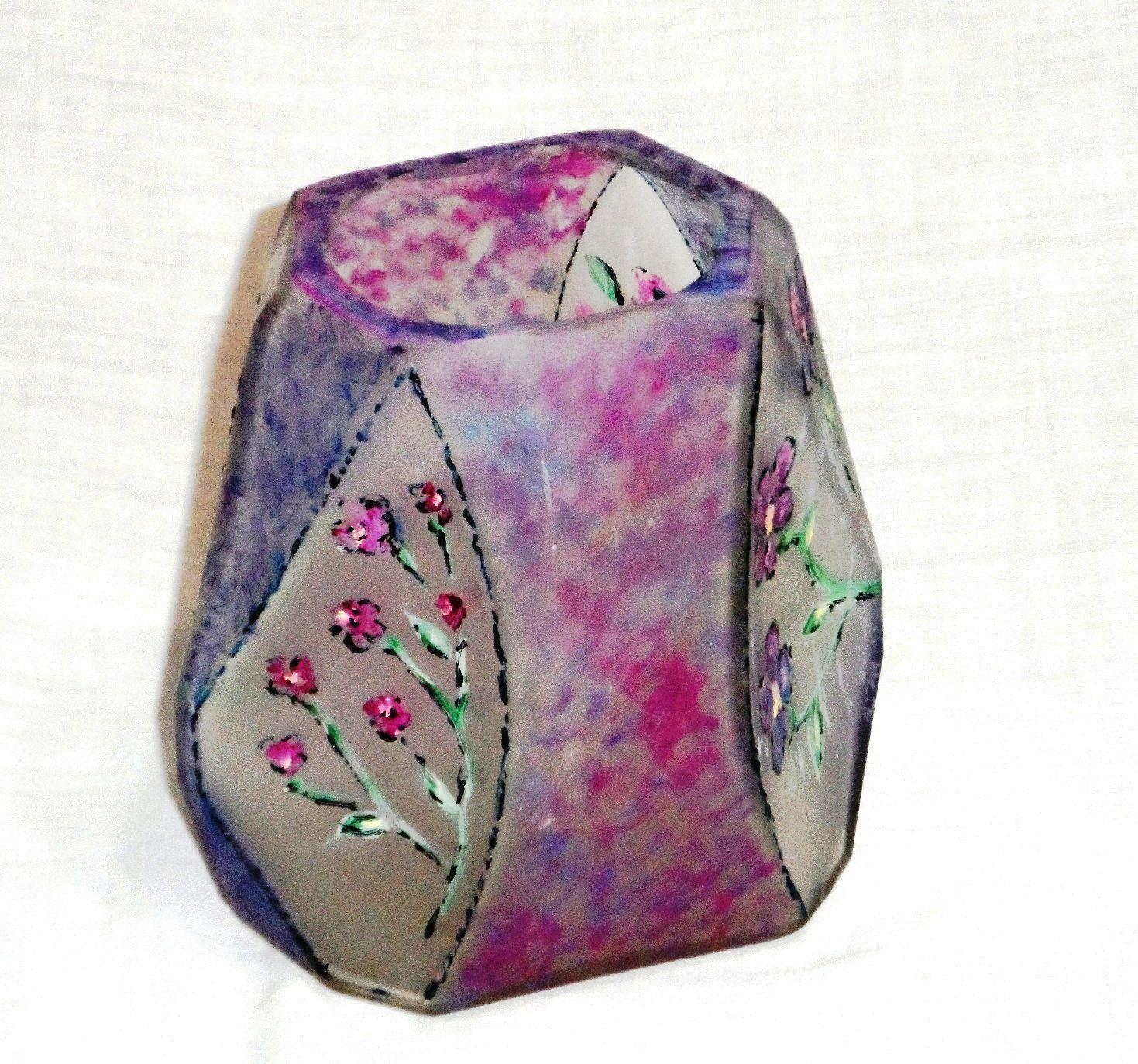 vaso em vidro com pintura de flores a mão Marberan Artes