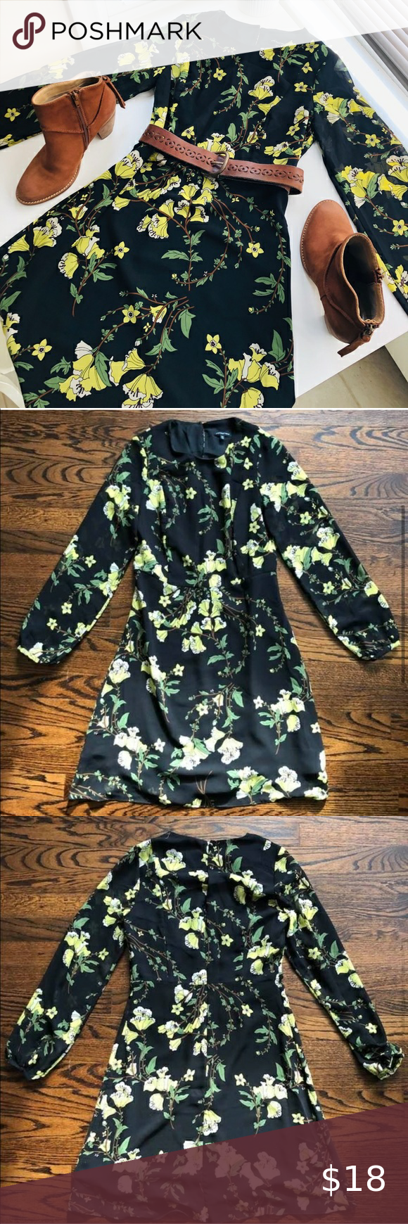 Flowy Floral Spring Dress Black Yellow Flowers Xs Never Worn Very Cute Spring Long Sleeve Dress Fall Floral Dress Spring Floral Dress Long Sleeve Dresses Fall [ 1740 x 580 Pixel ]