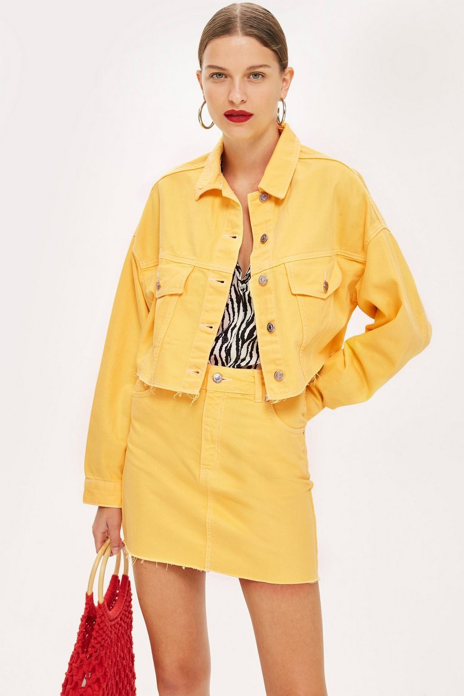 e219ff4636 Yellow Hacked Denim Jacket - Denim - Clothing - Topshop USA