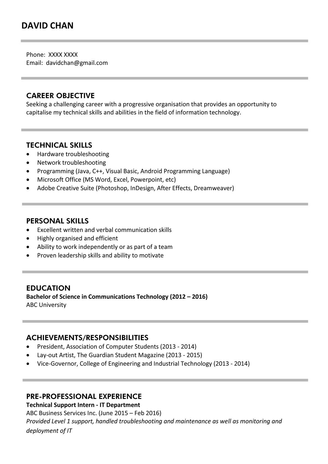 Hong Kong Cover Letter Template Resume Templates One Page Resume