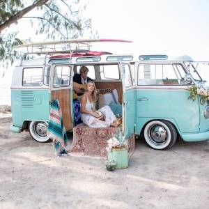 vintage 64 VW bus hawaii vintage rentals bohemian wedding