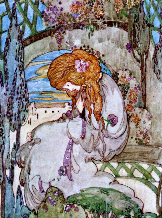 """Jessie M. King, illustration for Keats's """"Isabella; or the Pot of Basil"""""""