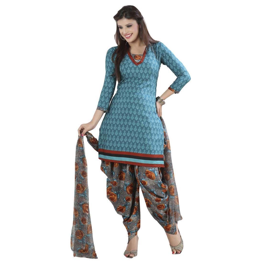 Crepe Blue Printed Unstitched Patiala Suit - Q1006 at Rs 715 www.indiarush.com/crepe-blue-printed-unstitched-patiala-suit-q1006/
