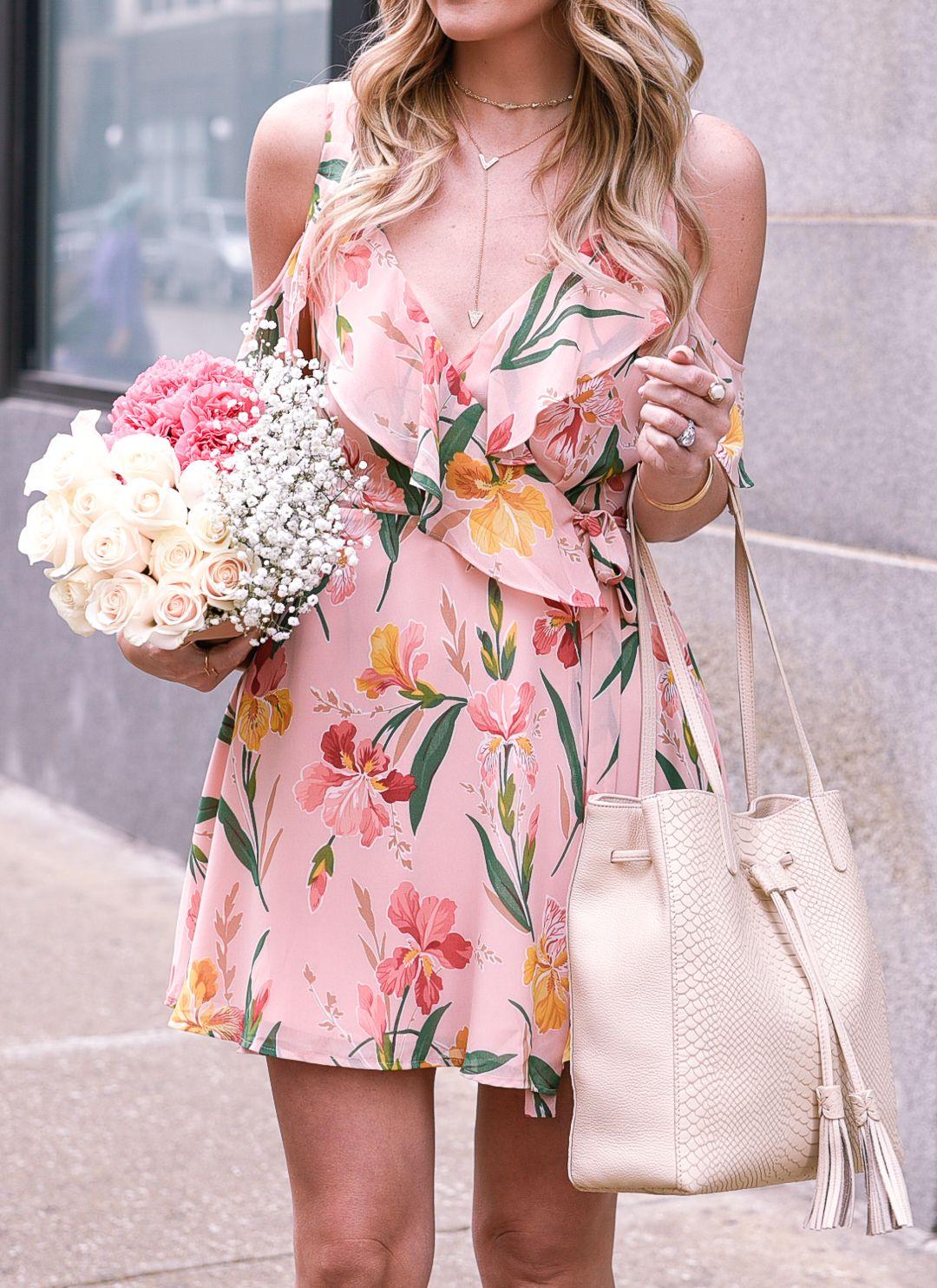 Pink Floral Wrap Dress Visions Of Vogue Chic Summer Outfits Wrap Dress Floral Dresses [ 1484 x 1080 Pixel ]
