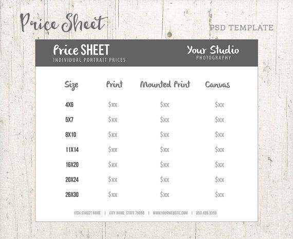 Price Sheet for Photographers Photographer by StudioTwentyNine - Price Sheet Template