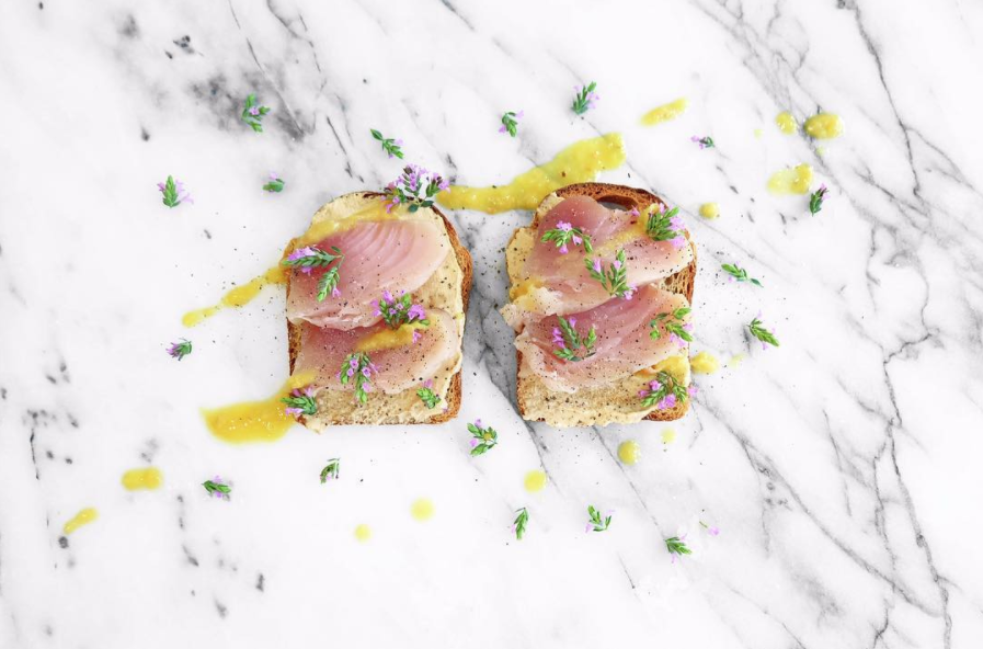 Today's #HetheringtonToastParty is an out take on West Coast sushi. Mouthwatering albacore tuna from Seafoodcity with a wasabi and soy infused cream cheese with sage flowers from our garden. Pineapple Habanero #HotSauce takes it out of this world. Order online at http://www.jonnyhetheringtonessentials.com #Sage #Flowers #Toasts #Breakfast #Brunch #Wasabi #SoySauce #CreamCheese #Habanero #Albacore #Tuna #Pineapple #Spicy #Hot #Natural #AllNatural #Vancouver #Cooking #Food #Foodporn