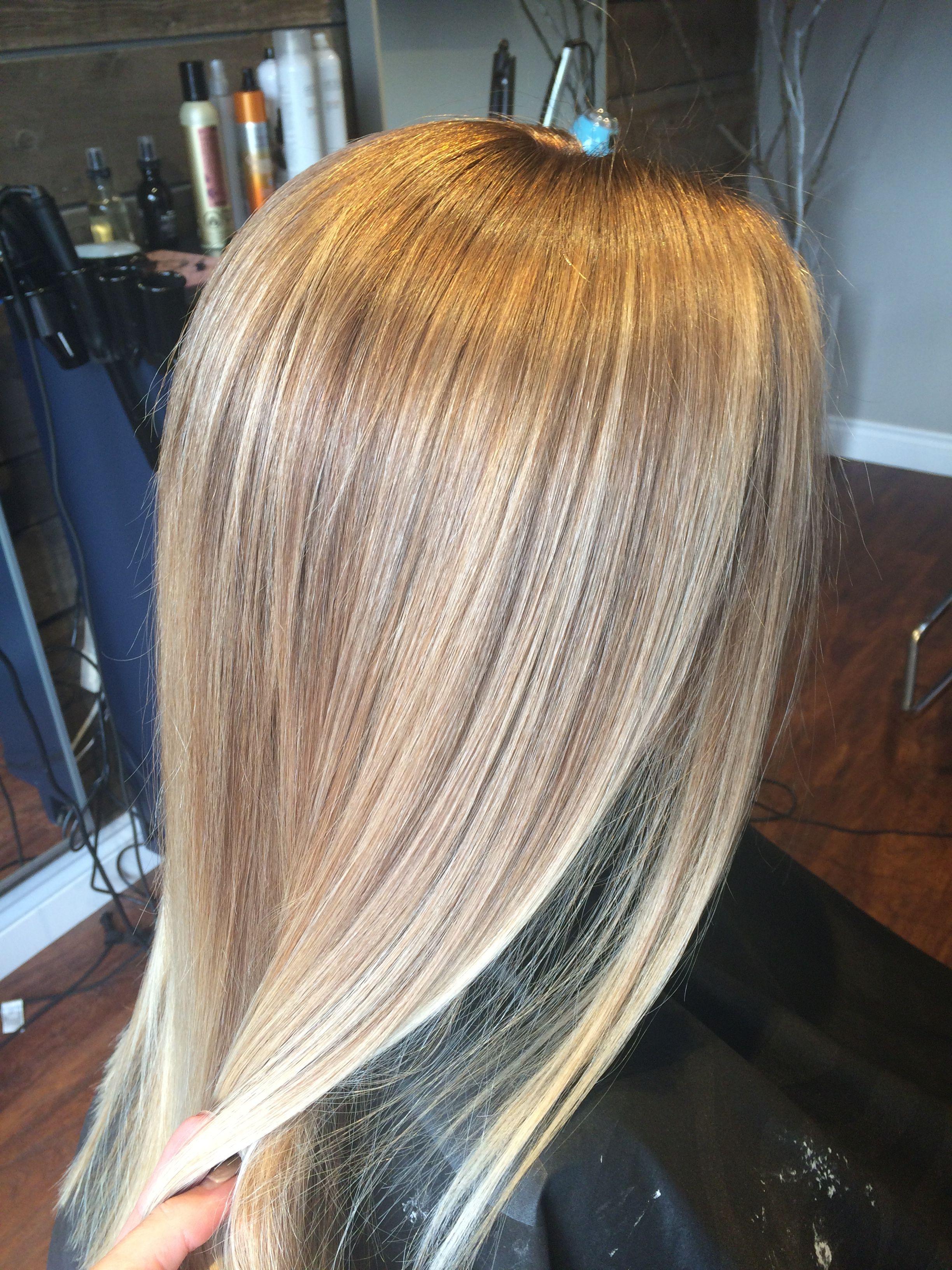 Blonde Balayage With Level 7 Beige Brown Base Blonde Balayage