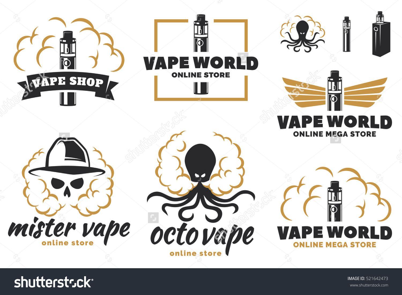 Set Of Vape E Cigarette Logo Emblems And Badges Isolated On White Background Vector Illustration Skull With Smoke Octopus With Smoke