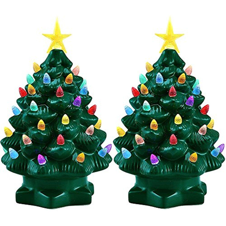 Mr. Christmas (2 Pack) 7†Porcelain Christmas Tree Decoration Color ...