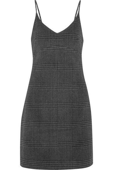 Woodside Checked Wool-blend Mini Dress - Dark gray Ganni LCeSv45