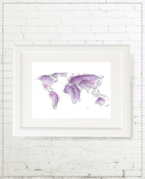 Illustration Weltkarte LILA von marenkruth auf DaWanda.com