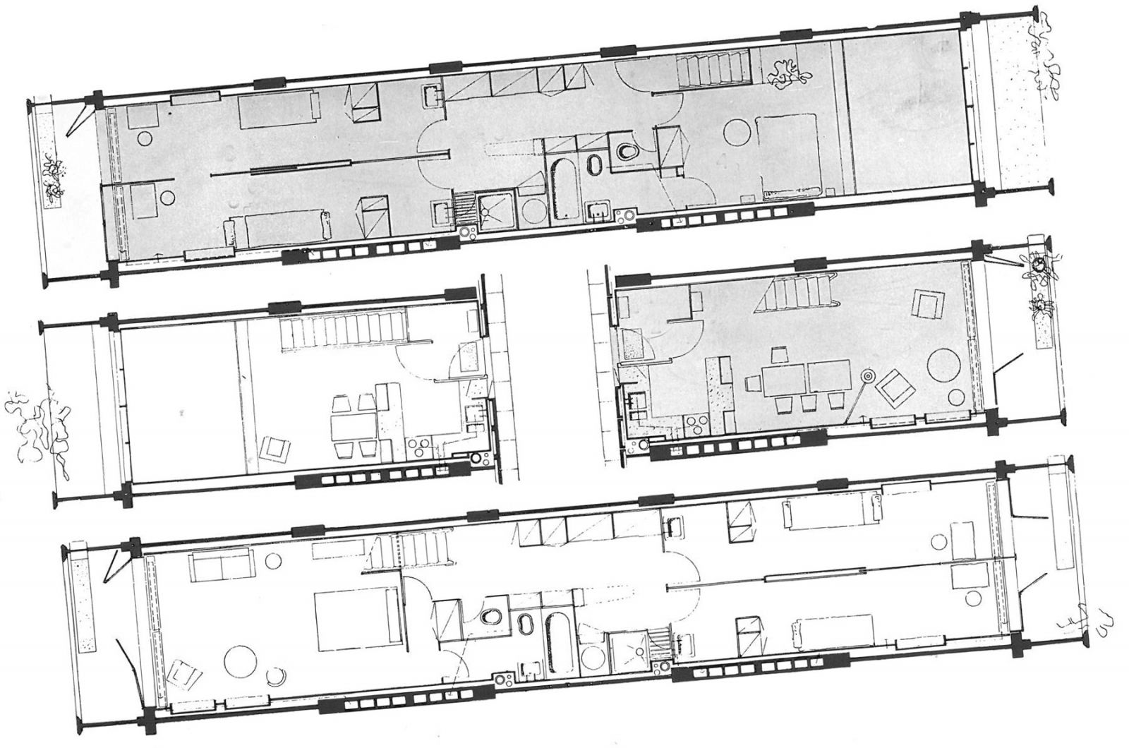 Floor plans of living units in unite d 39 habitation for Plan habitation