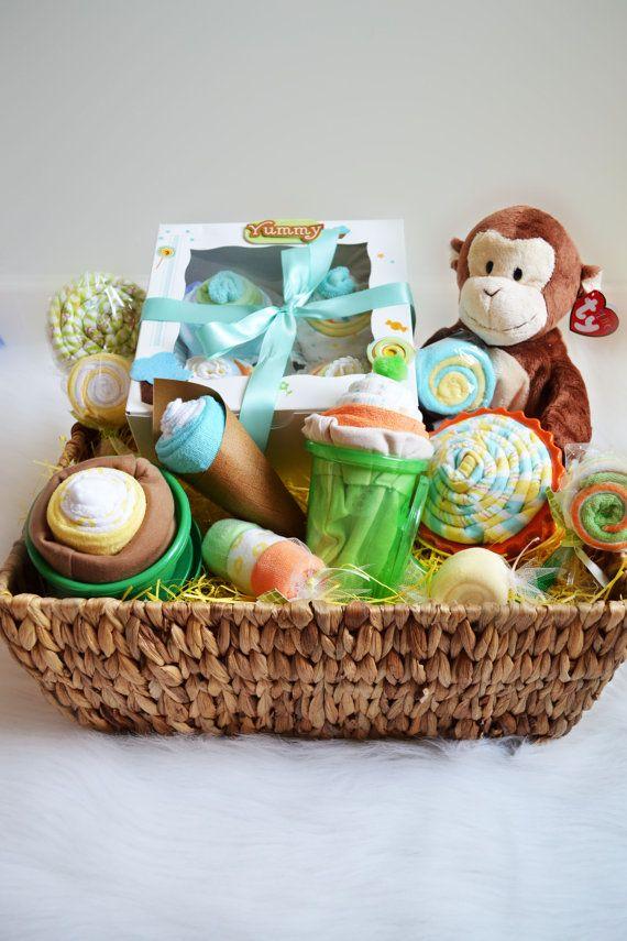 cute baby gift basket   Baby shower gift basket, Baby gift ...