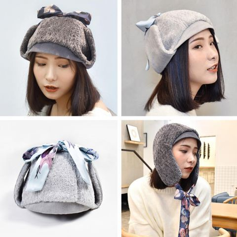 5ed931c12b8 Gray Sherpa winter hat with ear flaps for women ushanka hat with ribbons  Travel Wear