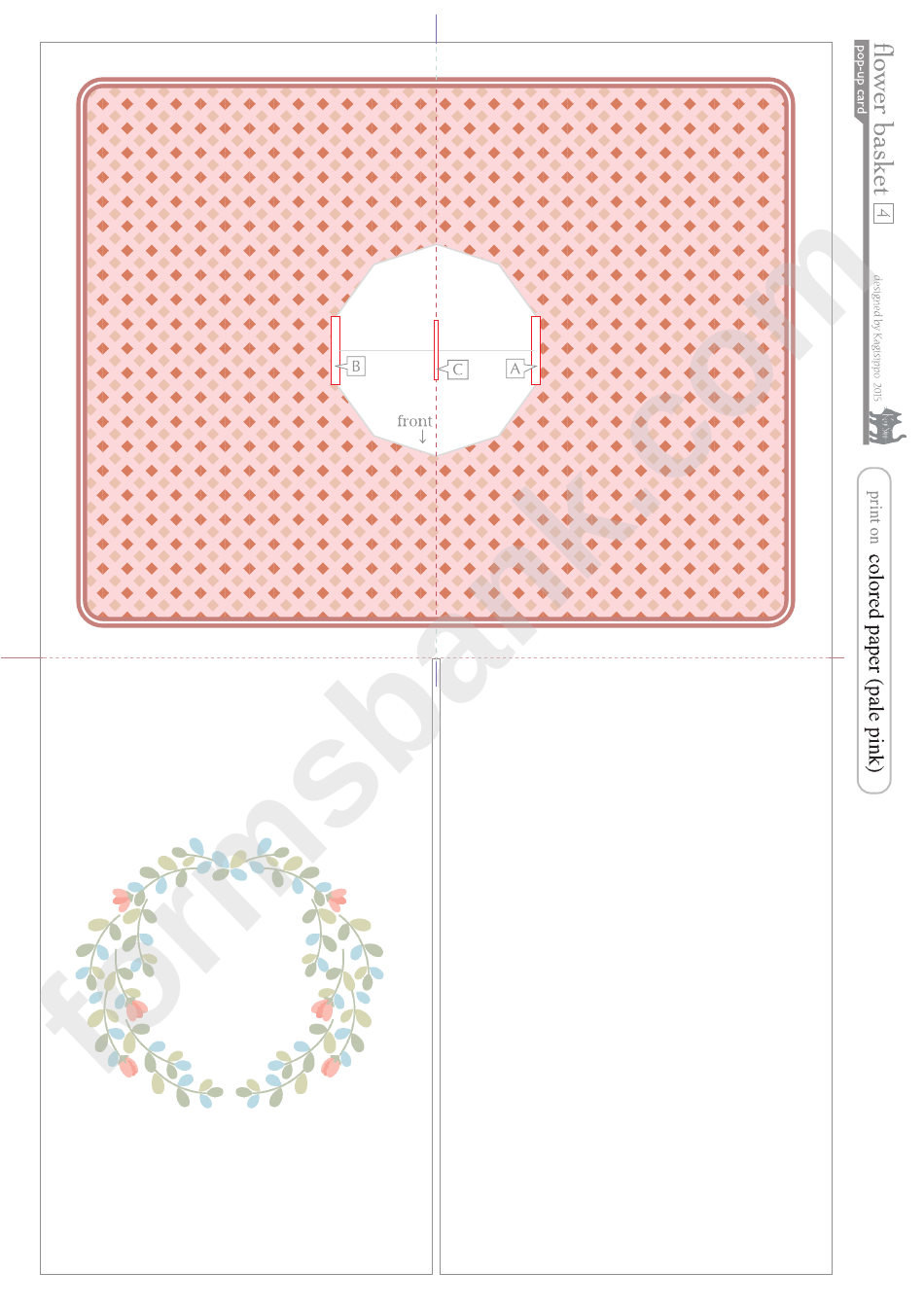 Flower Basket Pop Up Card Template Page 4 Of 4 In Pdf In 2021 Pop Up Card Templates Flower Basket Card Template