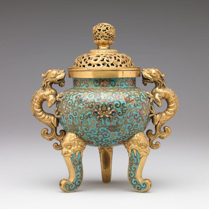 RISD Museum: Unknown artist, Chinese. Tripod Legged Censer, 1644-1911. Enamel on copper alloy. Height: 28 cm (11 inches). Bequest of John M. Crawford, Jr. 1989.110.84