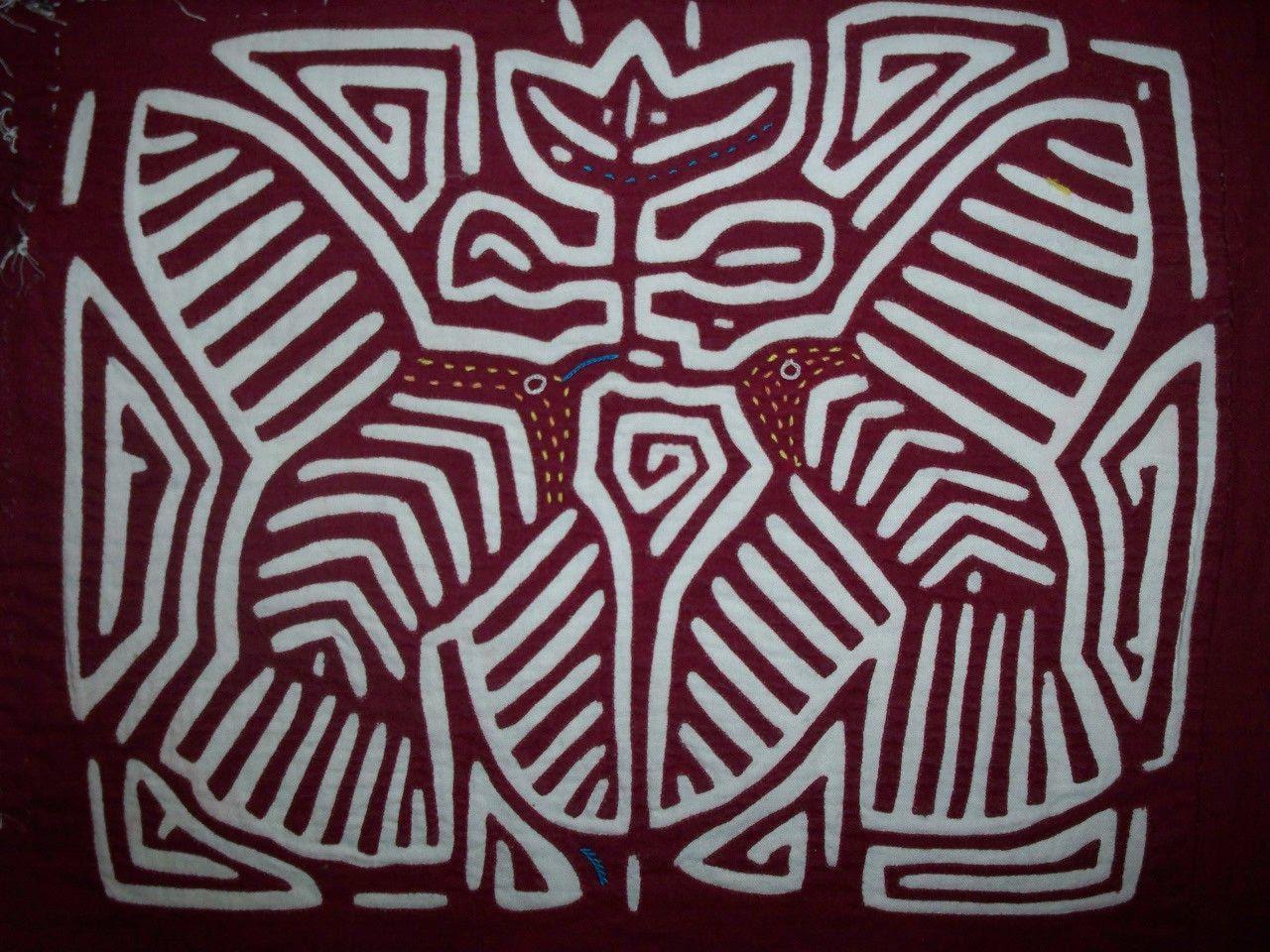 Kuna Indian Tribe Bird optical Illusion Mola Panama San Blas-12.62197
