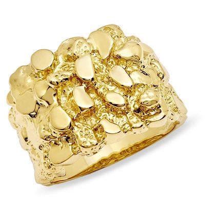 Men S 10k Gold Nugget Ring Gold Nugget Ring Gold Nugget Mens Gold Rings