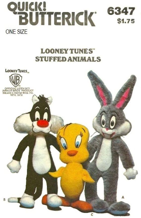 Butterick 6347 Looney Tunes 70s Stuffed Animal by Denisecraft