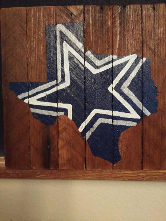 Dallas Cowboys Wall Art Rustic Wood Sign Hand Painted