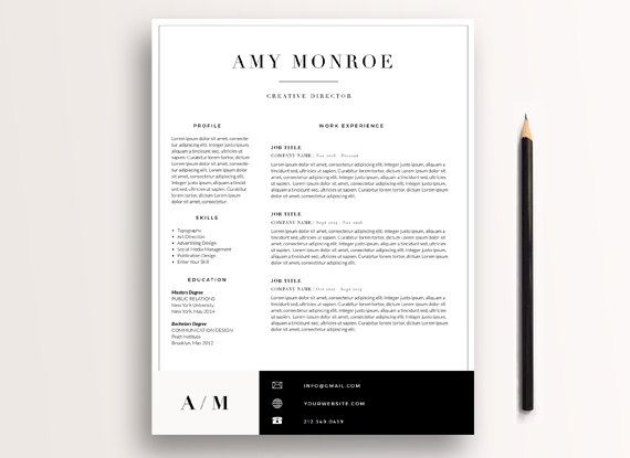 Classic Resume Template 3 page   CV Template + Cover Letter - classic resume template