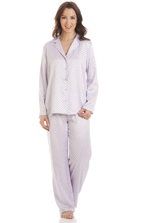 52b94360596ac Lilac Polka Dot Full Length Satin Pyjama Set   SATIN NIGHTWEAR ...