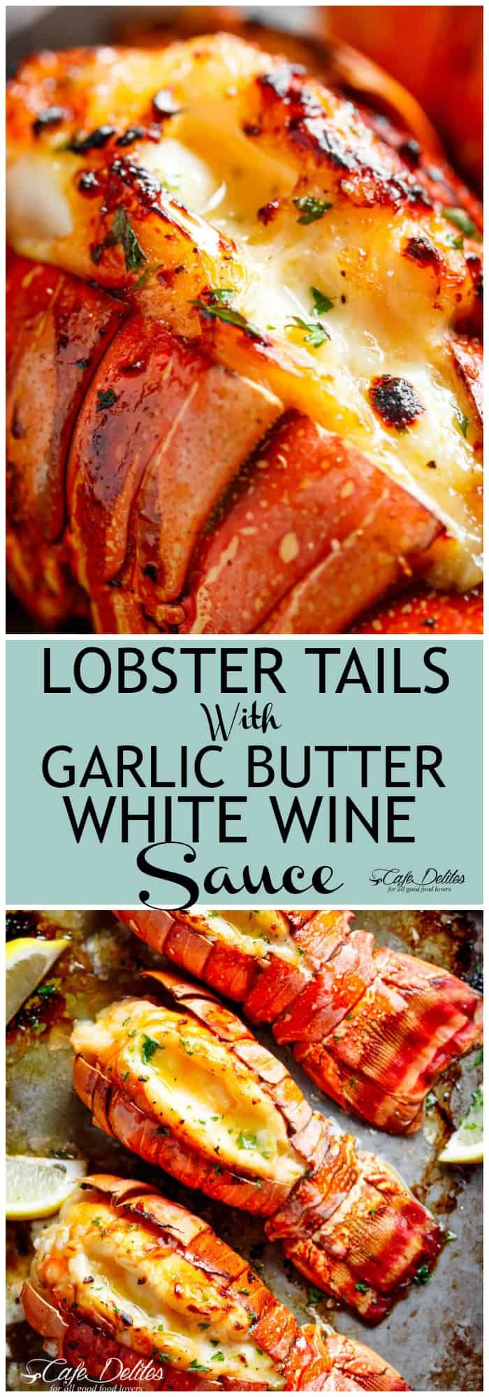 Broiled Lobster Tails With Honey Garlic Butter White Wine Sauce Is A Fancy Classy And Best Of All Easy To Seafood Dinner Seafood Recipes Lobster Recipes Tail