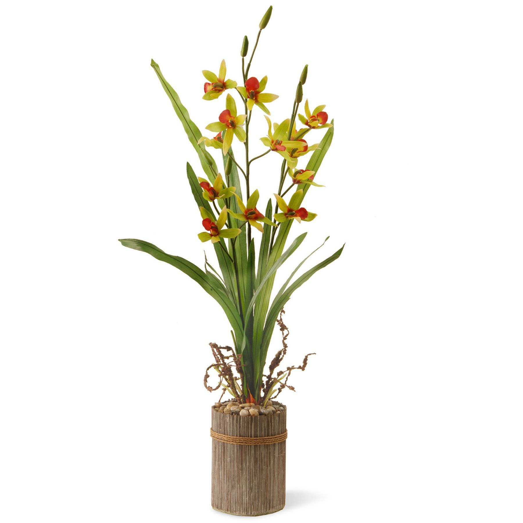 National Tree Company Potted Lily Silk Flower In Decorative Pot