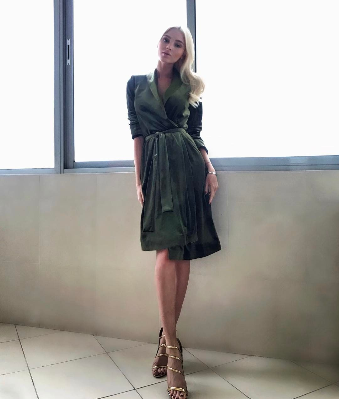 Alena shishkova uci love this velour wrap dress from botrois