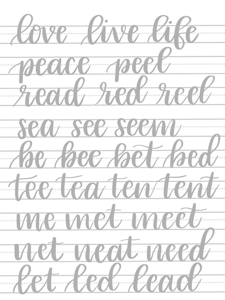 Hand Lettering Connecting E S Tutorial Free Practice Sheets En