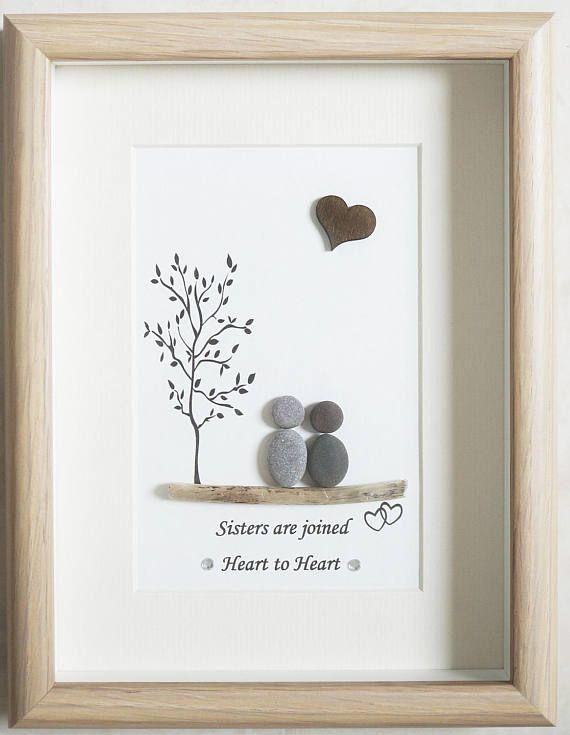 Pebble art framed picture sisters steinkunst steine kunst und steinbilder - Steinbilder auf leinwand ...
