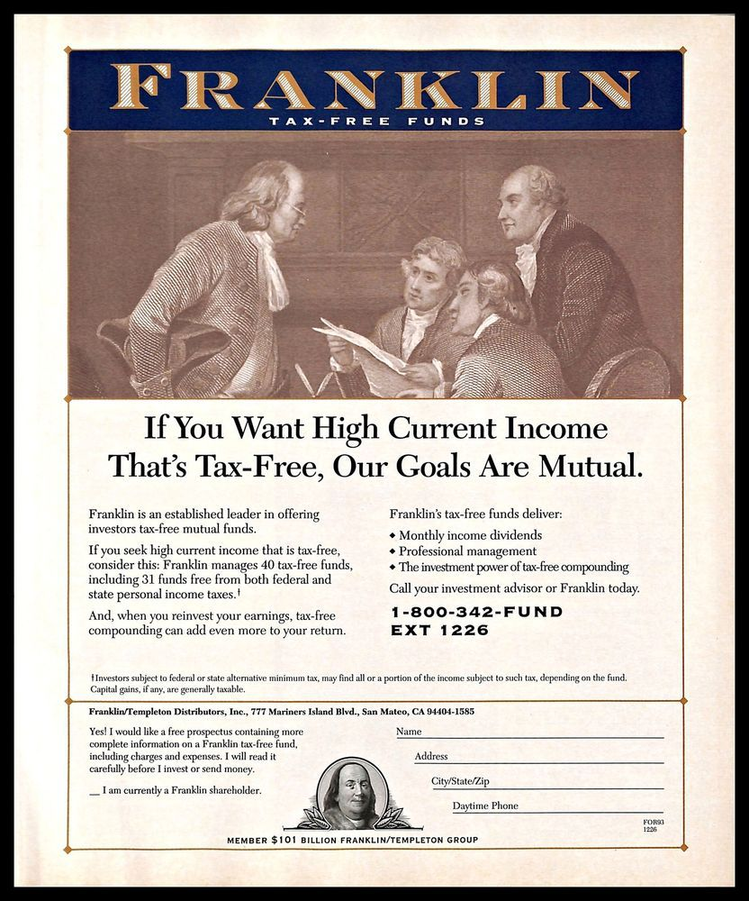 1993 Franklintaxfreefunds Vintage Print Ad Income Investment
