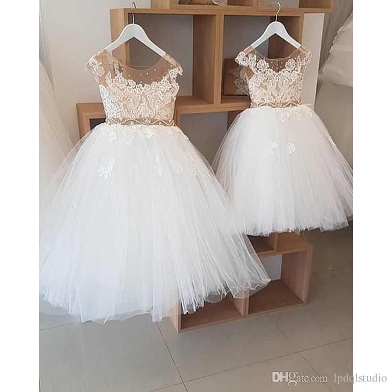 dc22f9e74 Fairy Ball Gown Flower Girls Dresses Ivory Tulle With Champagne Lining And  Sheer Sparkling Beads Girls Party Dresses Cheap Flower Girl Dress Pattern  Flower ...