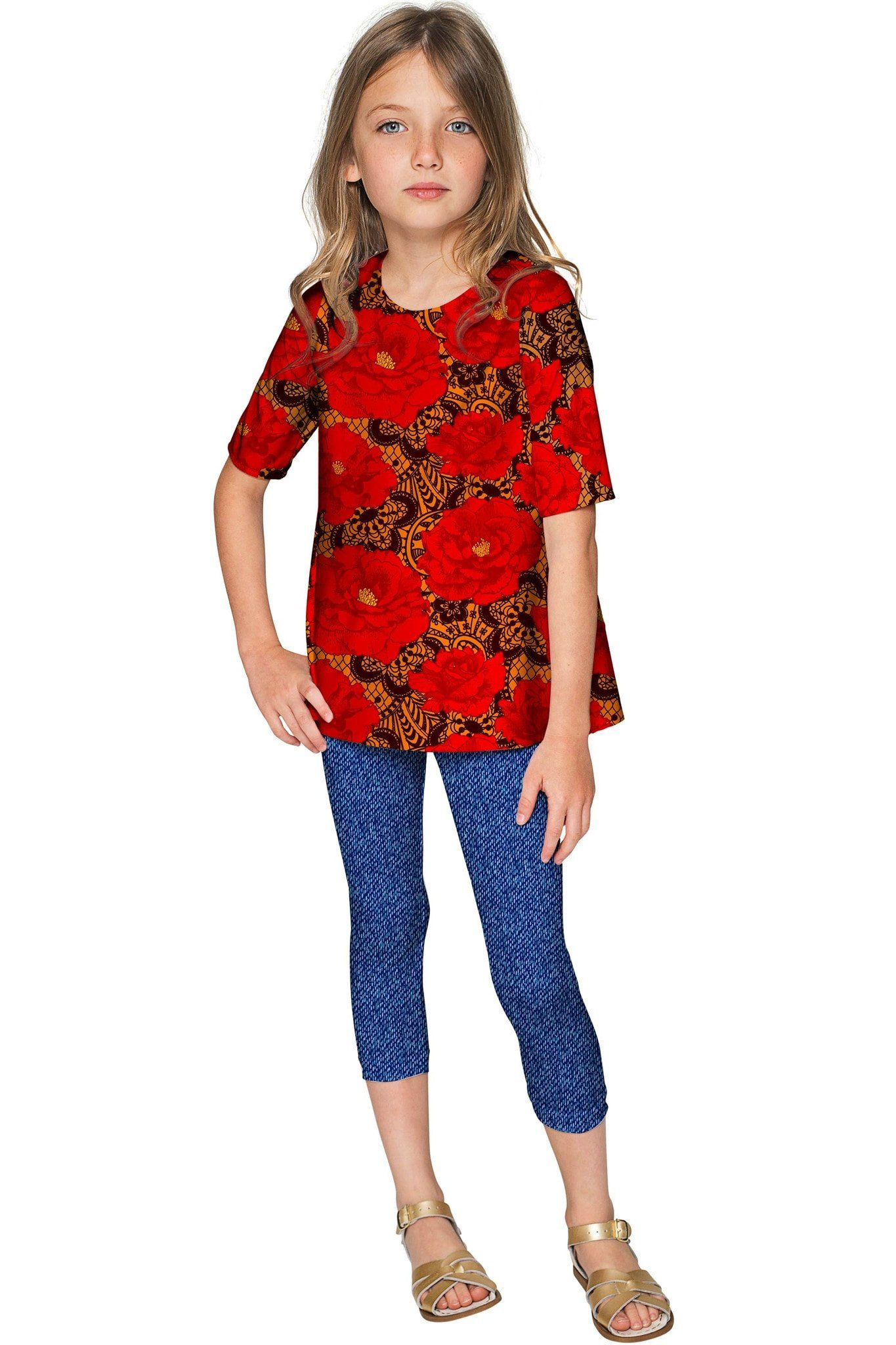e6d1cd4b2dd Hot Tango Sophia Red Floral Sleeved Party Dressy Top - Girls ...