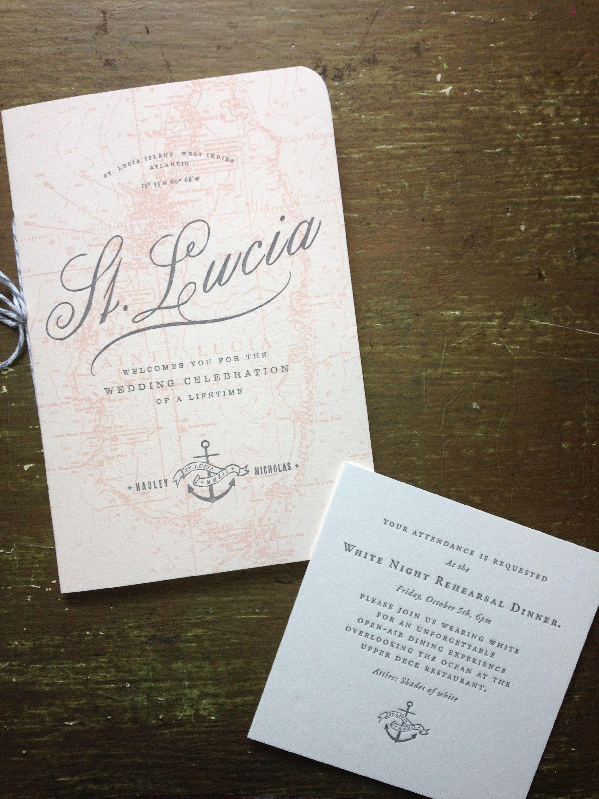 St. Lucia wedding invitation and rehearsal dinner invitation ...