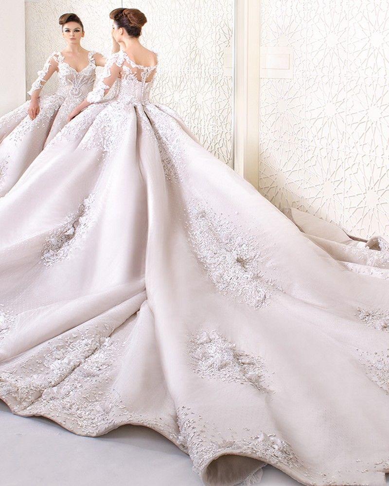 Luxury Lace Ball Gown Wedding Dress 2017 Fashion V-Neck Long Sleeve ...