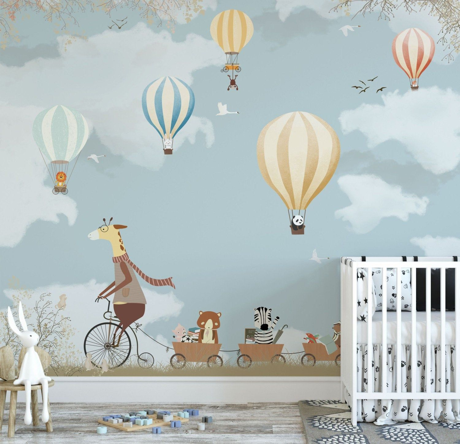 Woodland animal with coloful balloons wall paper mural