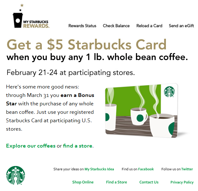 $5 gift card free with your 1lb coffee bean bag at Starbucks coupon via The Coupons App