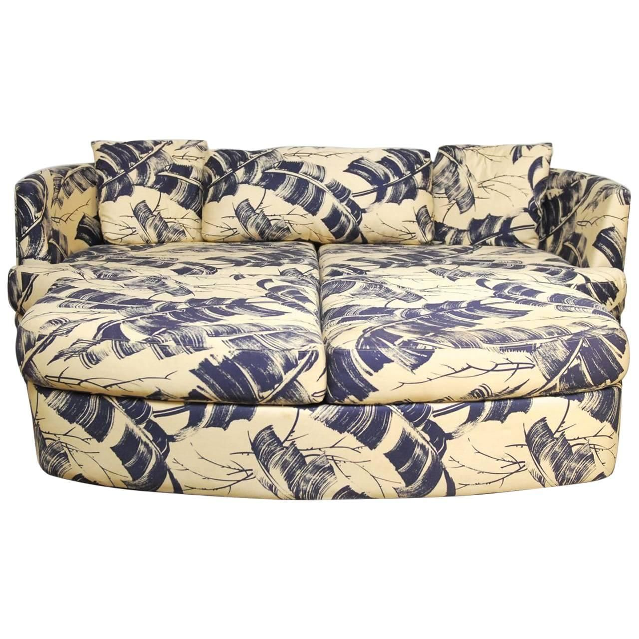 Selig Mid-Century Kidney Sofa and Ottoman | From a unique collection of antique and modern sofas at https://www.1stdibs.com/furniture/seating/sofas/