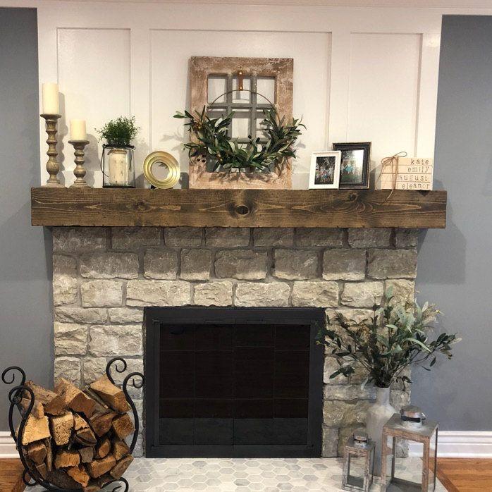 Photo of Rustic Wood Fireplace Mantel Shelf Distressed Farmhouse Handmade Floating Fireplace Beam Custom Grain FREE SHIPPING!!