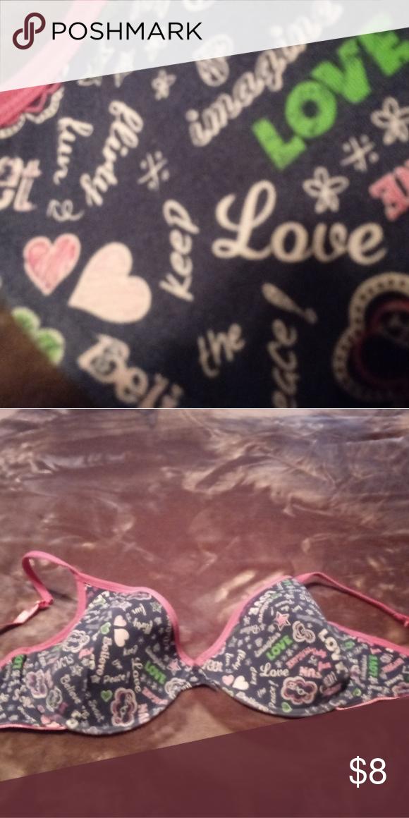 c3e61d9c591b Bra with writting Under wire Bra pink straps Target Intimates & Sleepwear  Bras