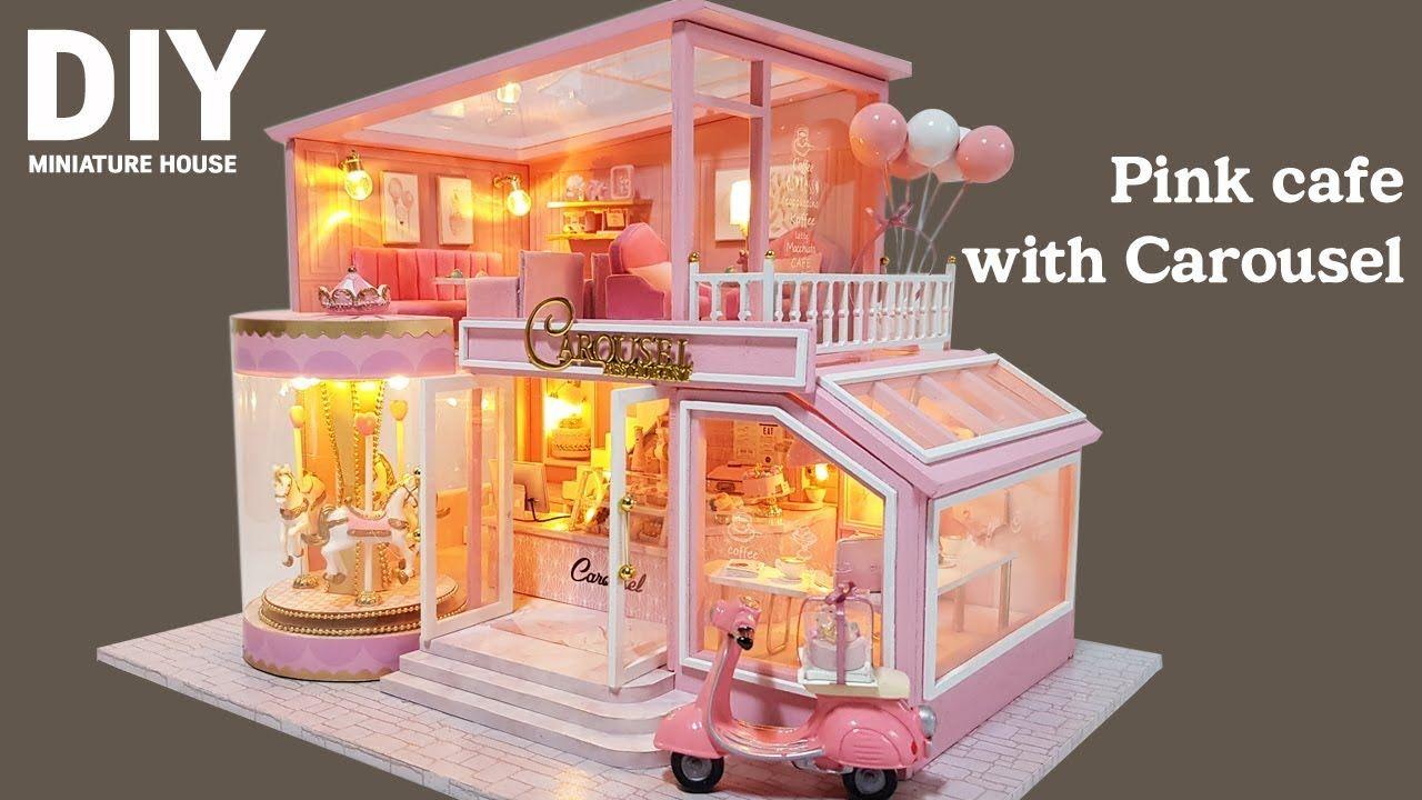 Diy miniature dollhouse kitㅣpink cafe with carouselㅣ횜전목마가