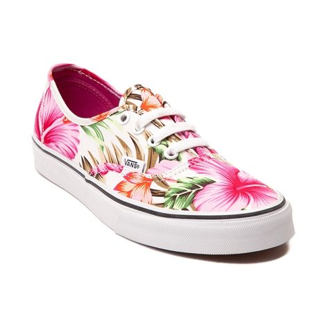 Shop for Vans Authentic Hawaiian Floral Skate Shoe in White Pink ...